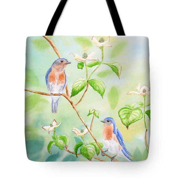 Bluebirds In Dogwood Tree Tote Bag by Kathryn Duncan