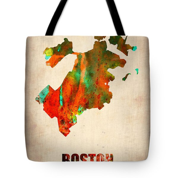 Boston Watercolor Map  Tote Bag by Naxart Studio