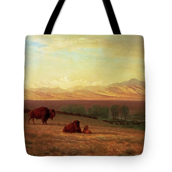 Buffalo On The Plains Tote Bag by Albert Bierstadt