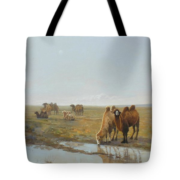 Camels Along The River Tote Bag by Chen Baoyi