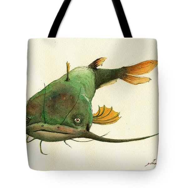 Channel Catfish Fish Animal Watercolor Painting Tote Bag by Juan  Bosco