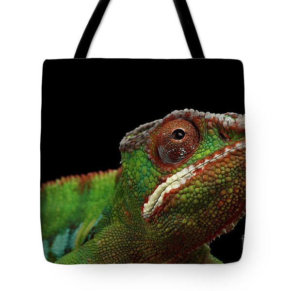 Closeup Head Of Panther Chameleon, Reptile In Profile View Isolated On Black Background Tote Bag by Sergey Taran