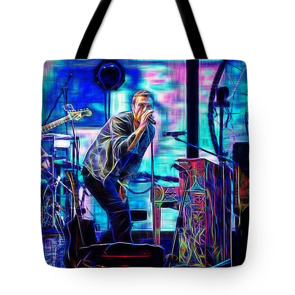Coldplay Collection Chris Martin Tote Bag by Marvin Blaine