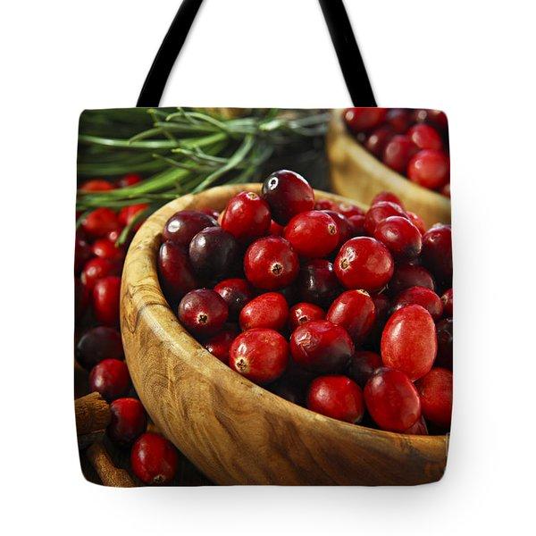 Cranberries in bowls Tote Bag by Elena Elisseeva