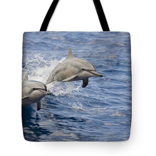 Dolphins Leaping Tote Bag by Dave Fleetham - Printscapes