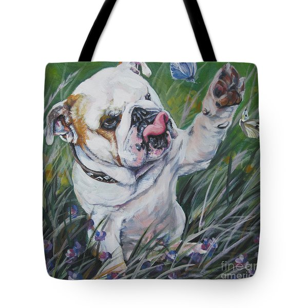 English Bulldog Tote Bag by Lee Ann Shepard