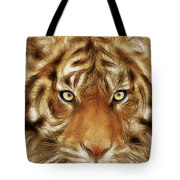 Eye Of The Tiger Tote Bag by Wingsdomain Art and Photography