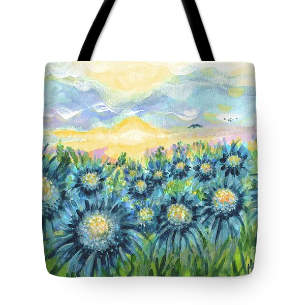 Field Of Blue Flowers Tote Bag by Holly Carmichael