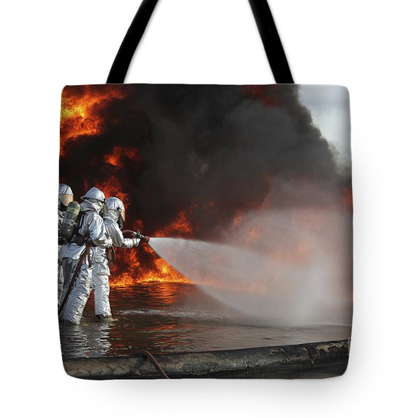 Firefighting Marines Battle A Huge Tote Bag by Stocktrek Images