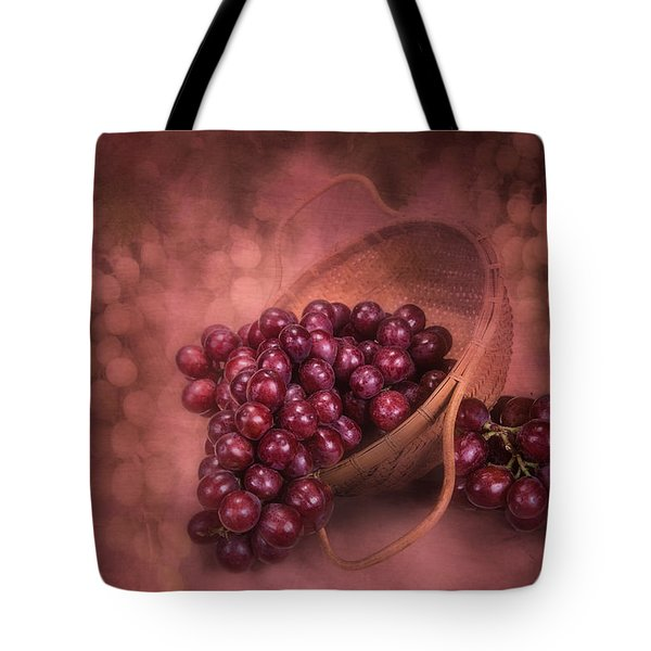 Grapes In Wicker Basket Tote Bag by Tom Mc Nemar