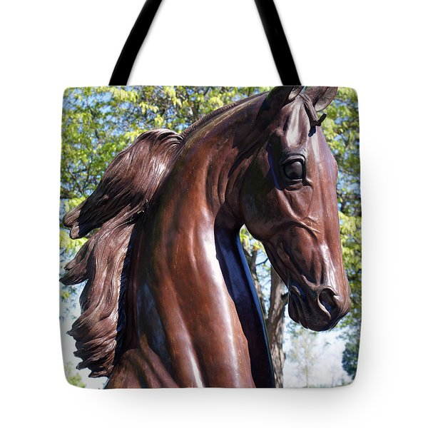 Horse Head In Bronze Tote Bag by Roger Potts