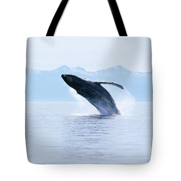 Humpback Whale Breaching Tote Bag by John Hyde - Printscapes