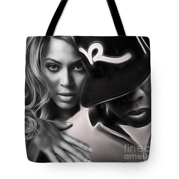Jay Z Beyonce Collection Tote Bag by Marvin Blaine