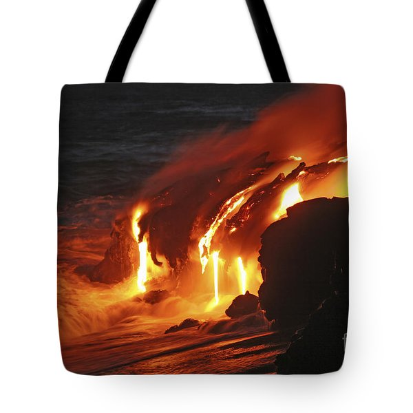 Kilauea Lava Flow Sea Entry, Big Tote Bag by Martin Rietze