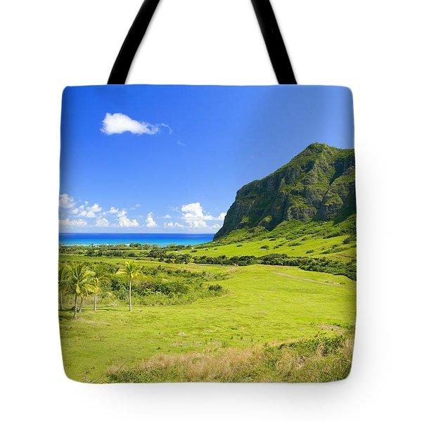 Kualoa Ranch Mountains Tote Bag by Dana Edmunds - Printscapes