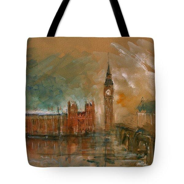 London Watercolor Painting Tote Bag by Juan  Bosco
