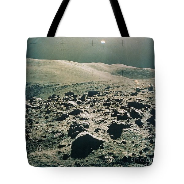 Lunar Rover At Rim Of Camelot Crater Tote Bag by NASA / Science Source