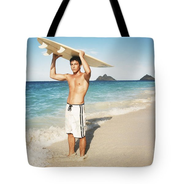 Man at the beach with surfboard Tote Bag by Brandon Tabiolo - Printscapes