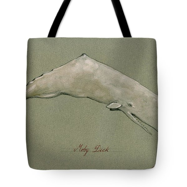Moby Dick The White Sperm Whale  Tote Bag by Juan  Bosco