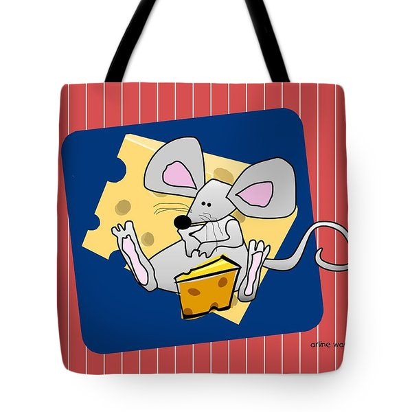 Moochie Loves Cheese Tote Bag by Arline Wagner