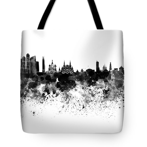 Moscow Skyline White Background Tote Bag by Pablo Romero