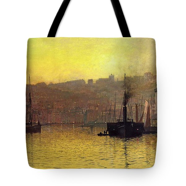 Nightfall In Scarborough Harbour Tote Bag by John Atkinson Grimshaw