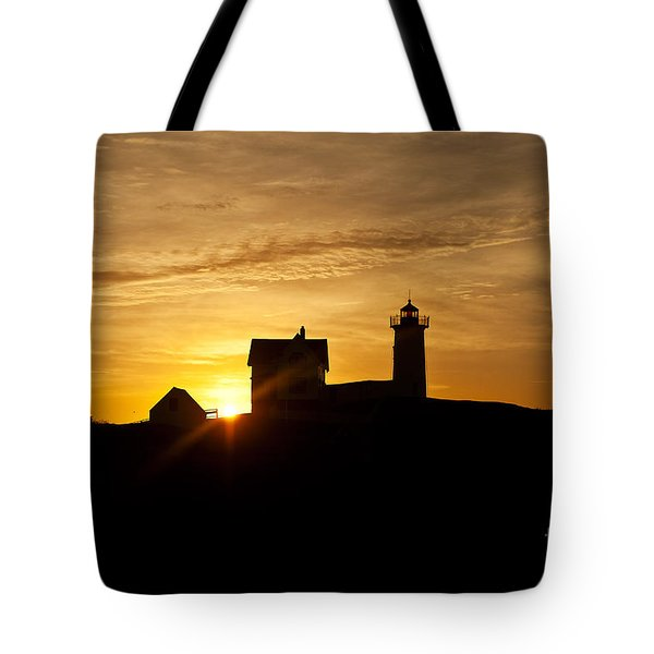Nubble Lighthouse Tote Bag by John Greim