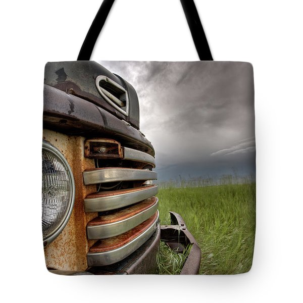 Old Vintage Truck On The Prairie Tote Bag by Mark Duffy