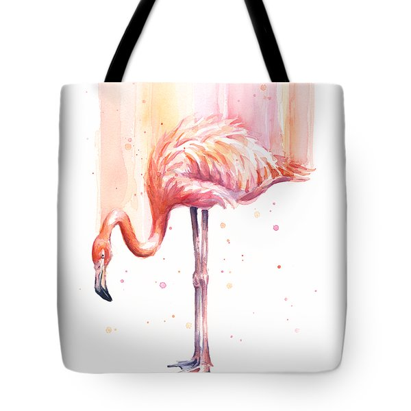 Pink Flamingo Watercolor Rain Tote Bag by Olga Shvartsur