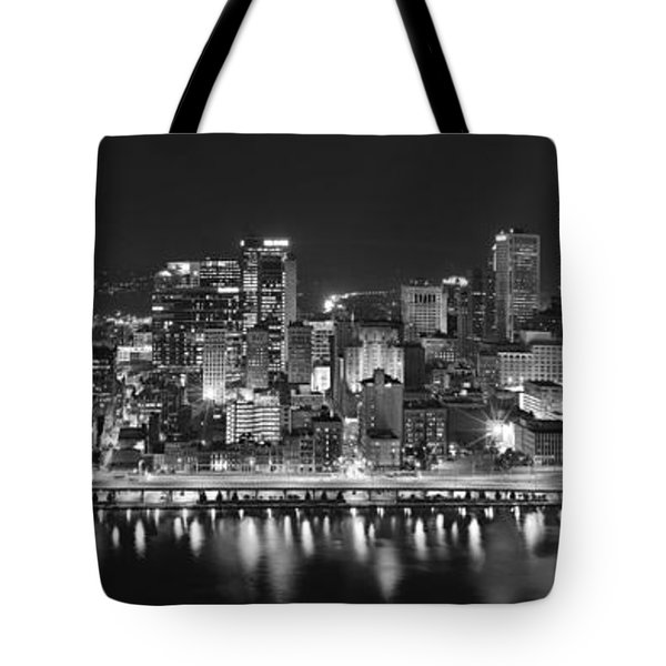 Pittsburgh Pennsylvania Skyline At Night Panorama Tote Bag by Jon Holiday