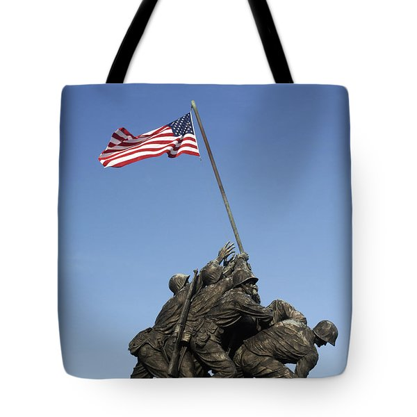 Raising The Flag On Iwo Tote Bag by Paul W Faust -  Impressions of Light