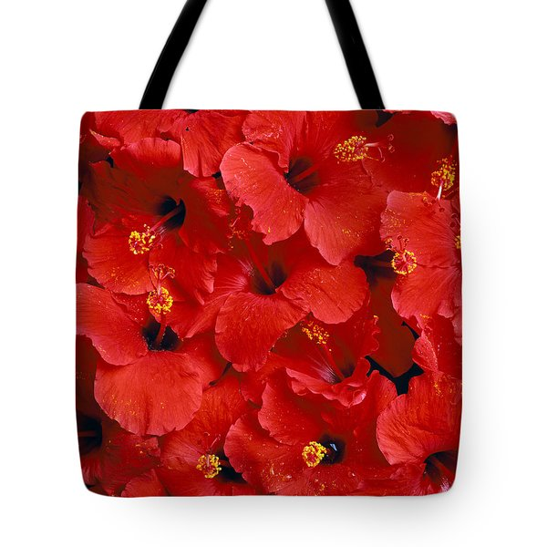 Red Hibiscus Tote Bag by Tomas del Amo - Printscapes