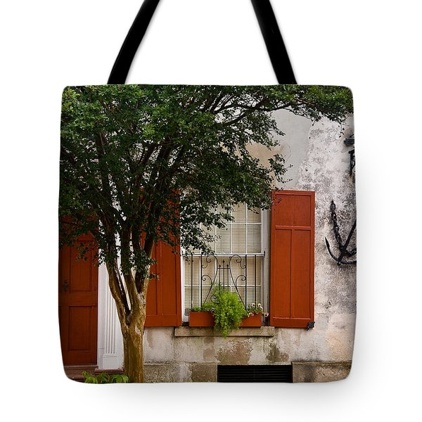 Red Shutters Tote Bag by Susan Cole Kelly