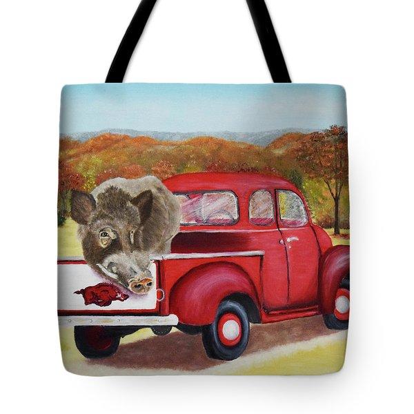 Ridin' With Razorbacks 2 Tote Bag by Belinda Nagy