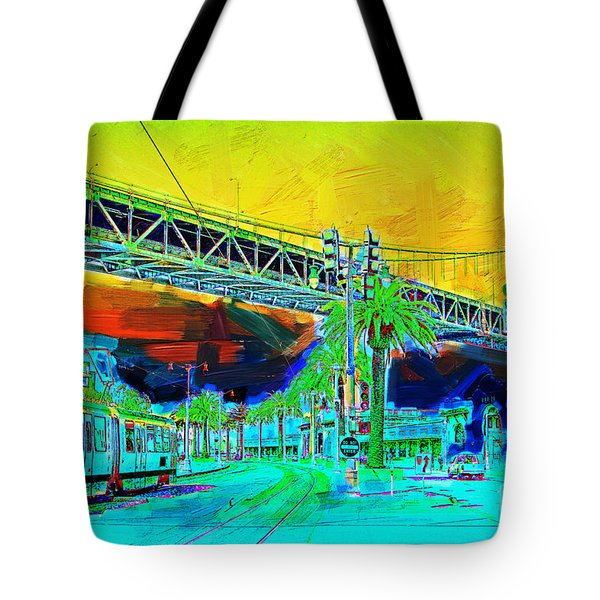 San Francisco Embarcadero And The Bay Bridge Tote Bag by Wingsdomain Art and Photography