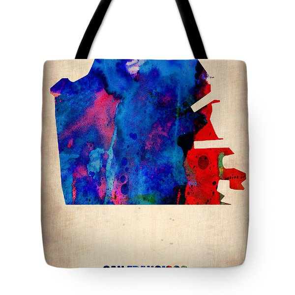 San Francisco Watercolor Map Tote Bag by Naxart Studio