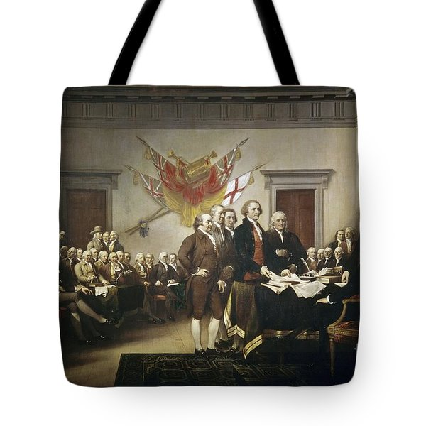 Signing The Declaration Of Independence Tote Bag by John Trumbull