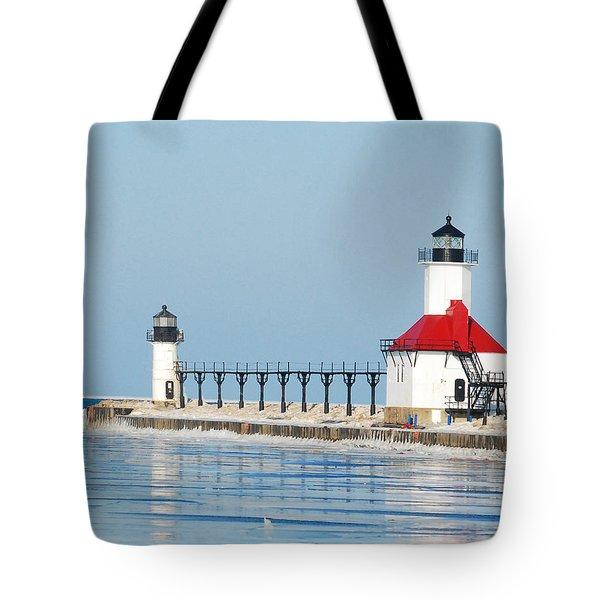 St Joseph North Pier Lights Tote Bag by Michael Peychich