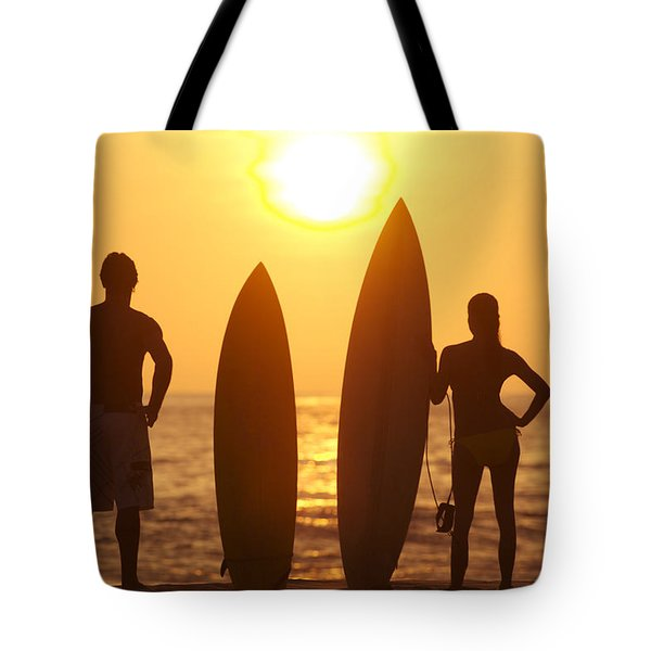 Surfer SIlhouettes Tote Bag by Larry Dale Gordon - Printscapes