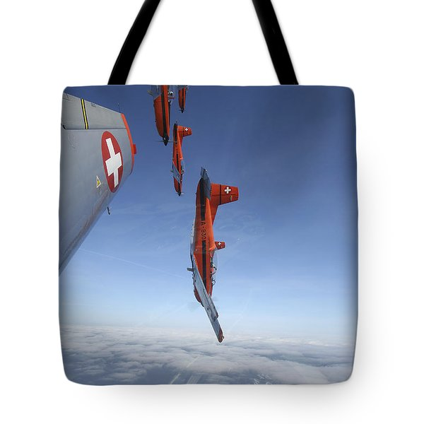 Swiss Air Force Display Team, Pc-7 Tote Bag by Daniel Karlsson