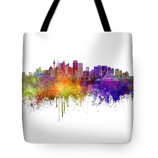 Sydney V2 Skyline In Watercolor Background Tote Bag by Pablo Romero