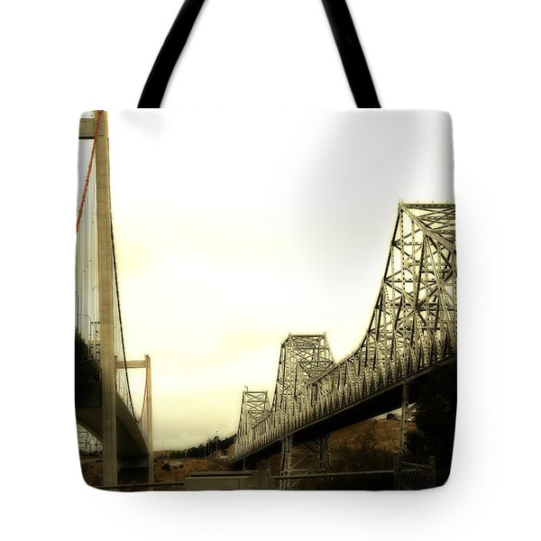 The Two Carquinez Bridges At Crockett and Vallejo California . aka Alfred Zampa Memorial Bridge . 7D8830 Tote Bag by Wingsdomain Art and Photography