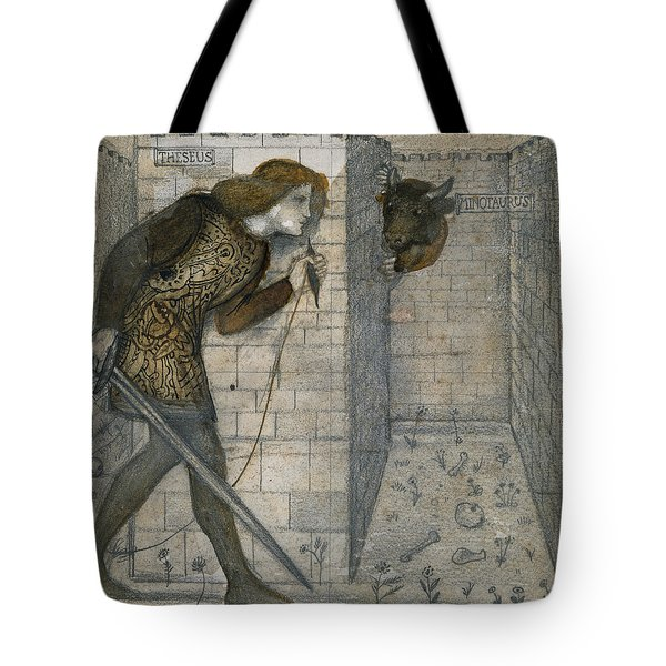 Theseus And The Minotaur In The Labyrinth Tote Bag by Edward Burne-Jones