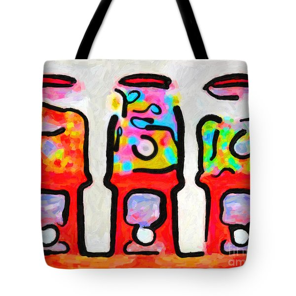 Three Candy Machines Tote Bag by Wingsdomain Art and Photography