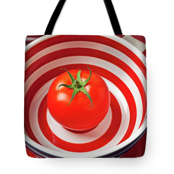 Tomato In Red And White Bowl Tote Bag by Garry Gay