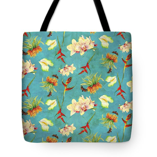 Tropical Island Floral Half Drop Pattern Tote Bag by Audrey Jeanne Roberts