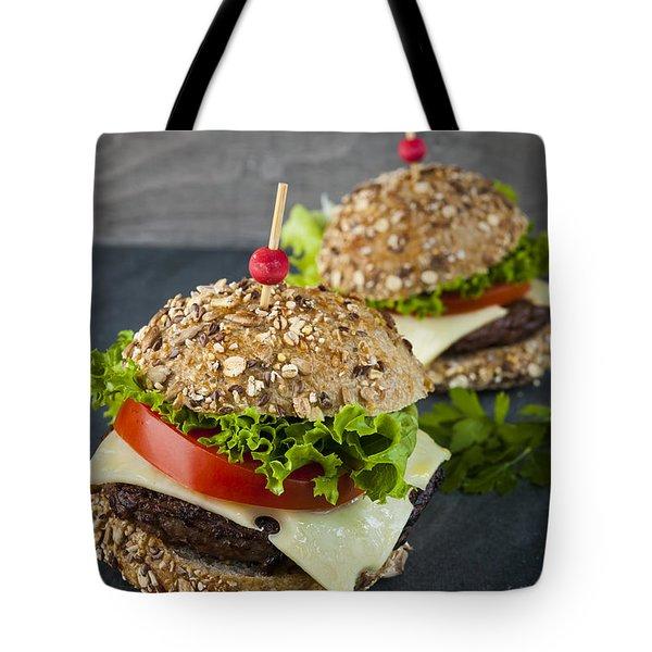 Two Gourmet Hamburgers Tote Bag by Elena Elisseeva