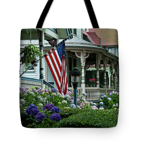 Victorian House And Garden. Tote Bag by John Greim