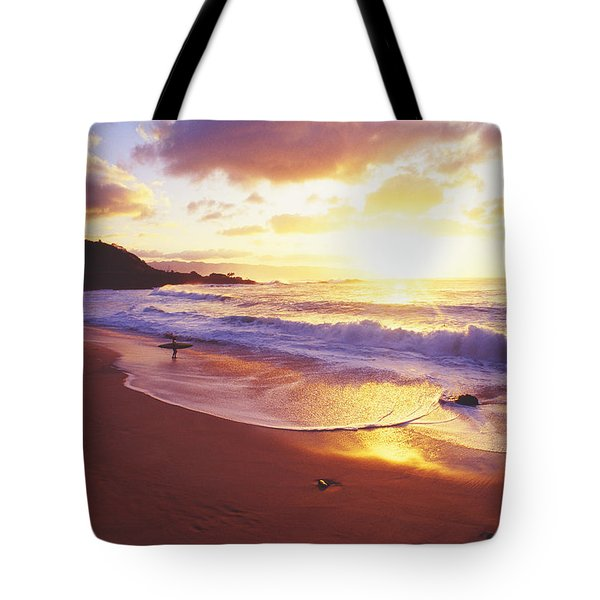 Waimea Bay Sunset Tote Bag by Bob Abraham - Printscapes