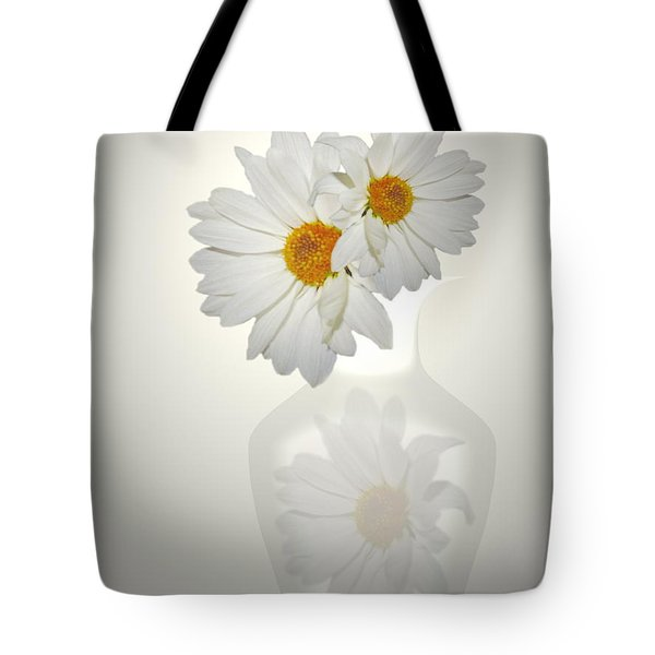 White On White Daisies Tote Bag by Joyce Dickens